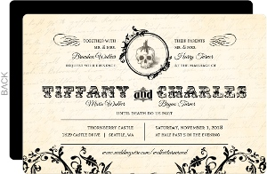 Cream Vintage Monogram Halloween Wedding Invitation