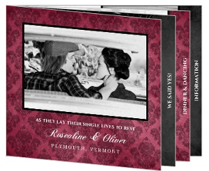Vintage Damask Booklet Halloween Wedding Invitation