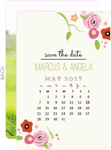Country Floral Calendar Save The Date Announcement