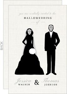 Skeleton Couple Cream Halloween Wedding Invitation