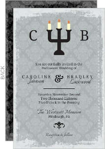 Candles With Gray Damask Halloween Wedding Invitation