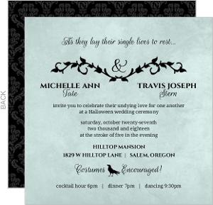 Blue Black Damask Vines Halloween Wedding Invitation