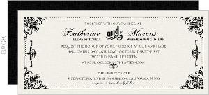 Elegant Vintage Cream Black Halloween Wedding Invitation