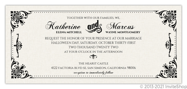 Elegant Vintage Cream Black Halloween Wedding Invitation – Elegant Halloween Wedding Invitations