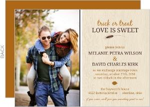 Fall Orange and Brown Woodgrain Photo Halloween Wedding Invitation