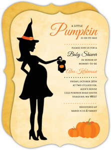 Witch Silhouette Pumpkin Baby Shower Invitation