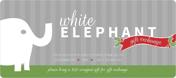 white elephant festive banner holiday party invitation - invite shop, Party invitations