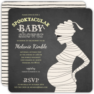 Chalkboard Mummy Silhouette Halloween Baby Shower Invitation