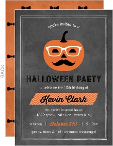 Hip Grunge Pumpkin Halloween Birthday Invitation