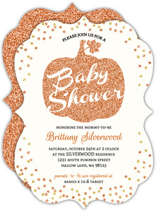 Wimsical Pumpkin Faux Glitter Confetti Halloween Baby Shower Invitation