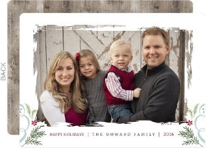 Simple Rustic Family Photo Holiday Card