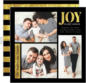Modern Black & Gold Photo Grid Holiday Card