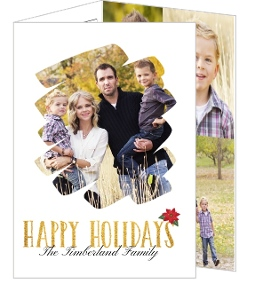 Beautiful Gold Texture Holiday Trifold Photo Card