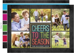 Faux Foil Cheers to the Season Holiday Photo Card