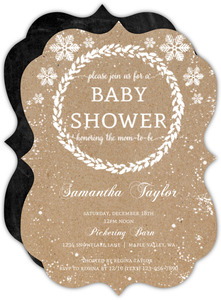Winter Wreath Holiday Baby Shower Invitation