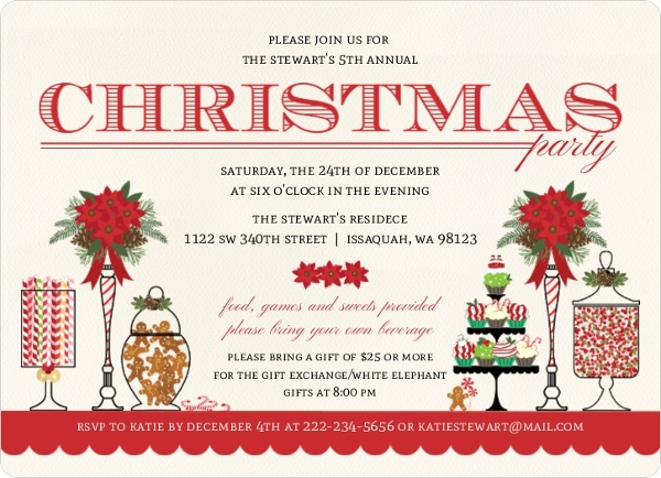 Sweet Candy Buffet Holiday Theme Party Invitation - Invite ...