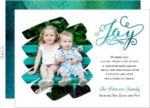 Beautiful Turquoise Watercolor Washout Holiday Photo Card