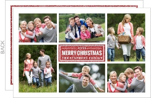 White Grid & Faux Red Glitter Christmas Photo Card