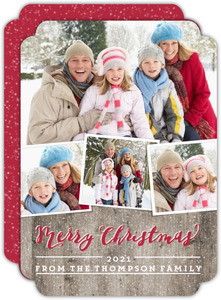 Rustic Woodgrain Christmas Photo Collage Card