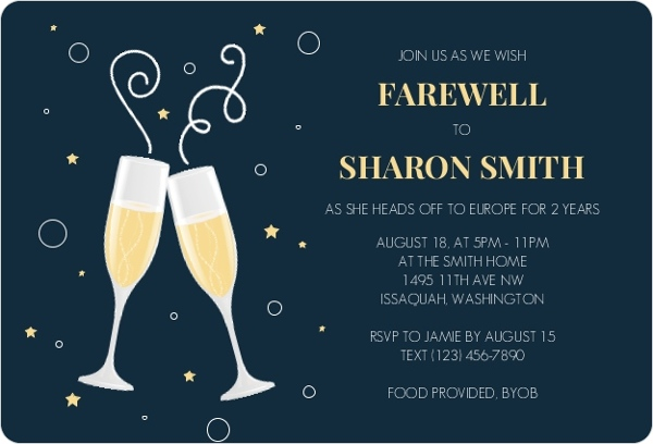 Moving On Farewell Party Invitation – Champagne Party Invitations
