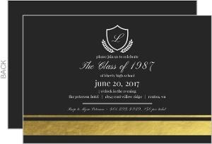 Gold Foil Class Reunion Invitation