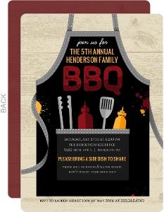 BBQ Apron Family Reunion Invitation