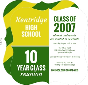 Color Blocks 10 Year Class Reunion Invitation