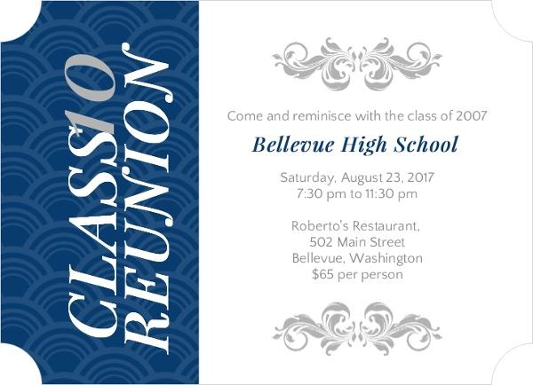 Elegant Blue and Gray High School Reunion Invitation – Gathering Invitation Sample