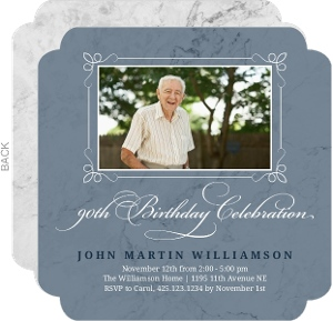 Marble Photo 90th Birthday Invitation