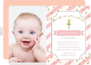 Waving Pink Banner 1st Birthday Invitations