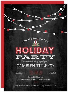 Festive Red and White Chalkboard Business Holiday Party Invitation