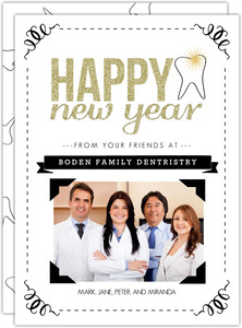 Gold Faux Glitter Dental Business Holiday Card