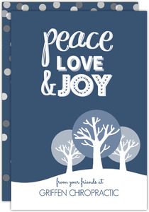 Blue and White Winter Trees Business Holiday Card