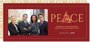 Red and Gold Peace Business Holiday Card
