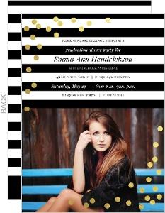 Modern Black and White Stripes Gold Confetti Graduation Invitation