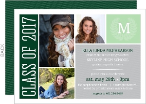 Monogram Seal Photo Graduation Invitation