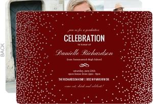 Confetti Faux Silver Foil Graduation Invitation