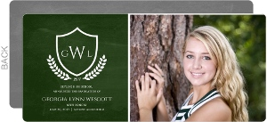 Green Chalkboard Crest Graduation Announcement