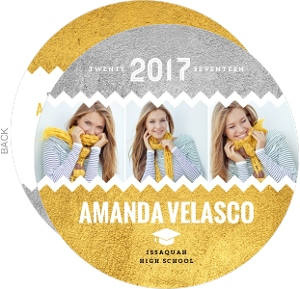 Gold Texture & Chevron Graduation Photo Announcement
