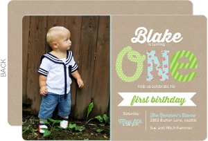 Kraft Blue & Green First Birthday Invitation