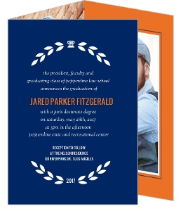 classic laurel wreath graduation invitation - Law School Graduation Invitations