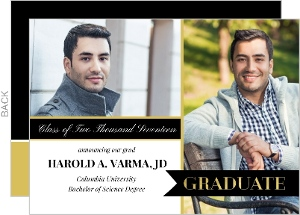Gold and Black Banner Graduation Announcement