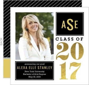 Faux Gold Foil Monogram Graduation Announcement