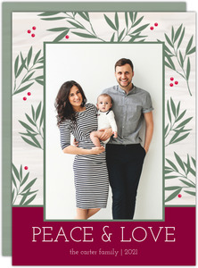 Greenery Peace and Love Christmas Photo Card