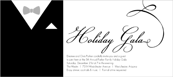Formal Black Suit Holiday Party Invitation - Invite Shop