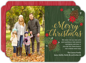 Pine Cone Woodgrain Christmas Photo Card
