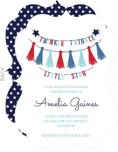 Patriotic Little Star Baby Shower Invitation