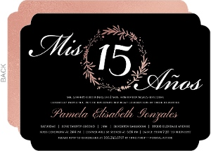 Rose Gold Pink Foil Quinceanera Invitation