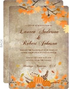 Vintage Fall Wedding Invitation