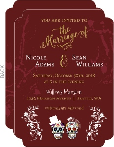 Burgundy and Gold Halloween Wedding Invitation